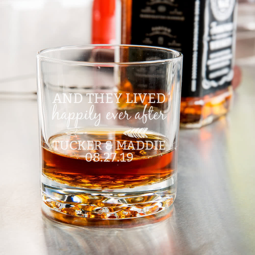 Happily Ever After Etched Whiskey Glass-Whiskey Glasses + Wine-Maddie & Co.