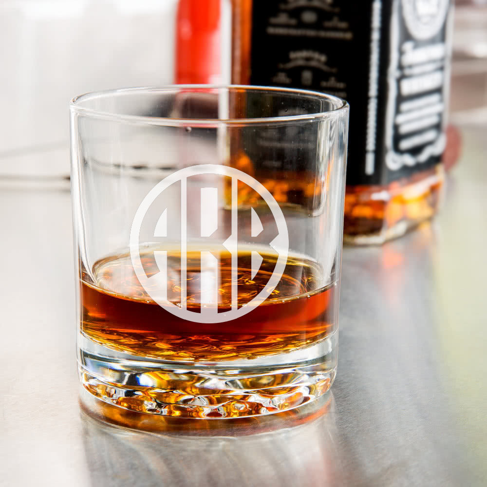 Monogram Etched Whiskey Glass-Whiskey Glasses + Wine-Maddie & Co.