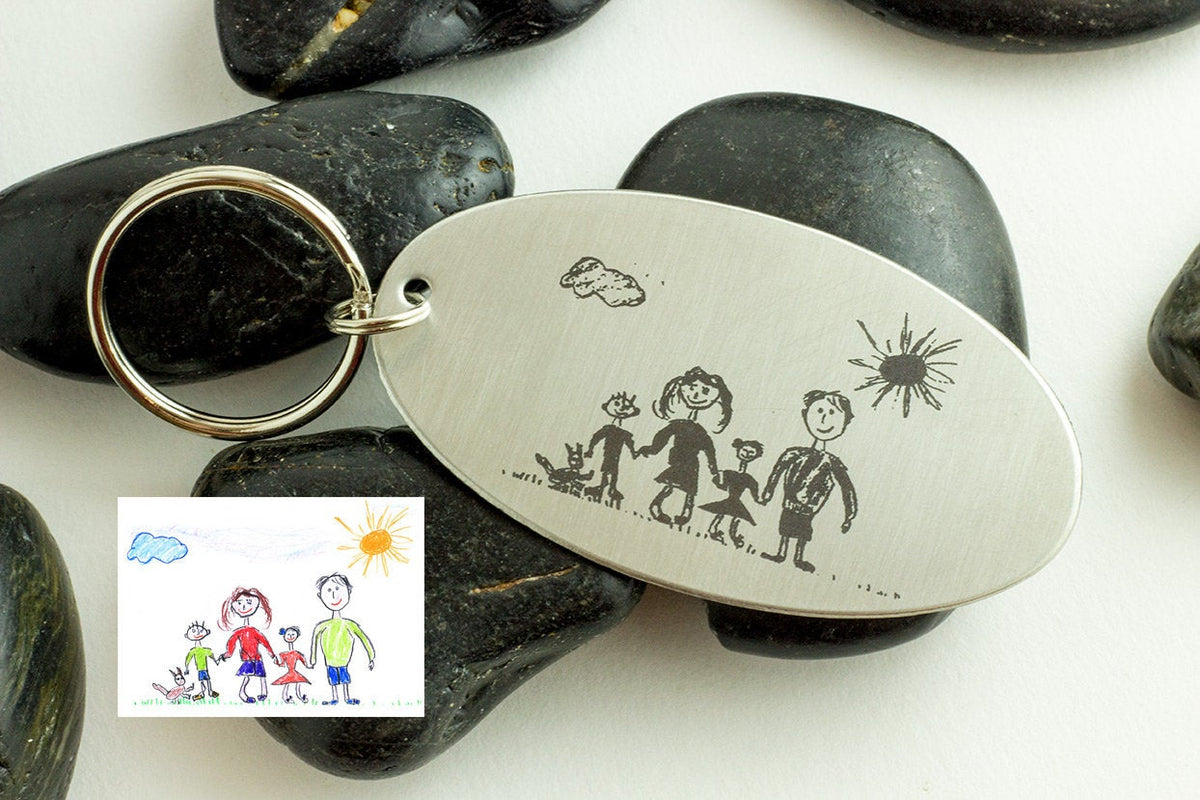 Childrens Art Key Chain - Personalized Keychain Engraved with Childs Art-Maddie & Co.
