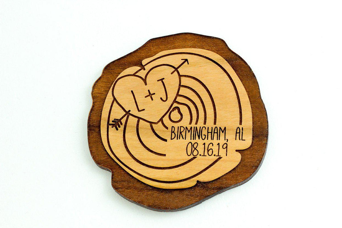 Save the Date Magnet Wood Slice - Custom Engraved Wood Magnet - Wedding Save The Date-Kitchenware-Maddie & Co.