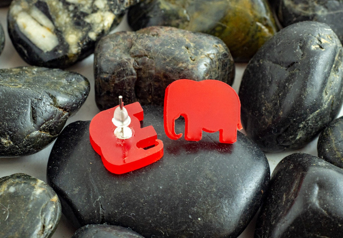 Elephant Earrings | Acrylic | Gift Under 10 | Alabama Crimson Tide | UA Earrings | Bama Earrings-Maddie & Co.