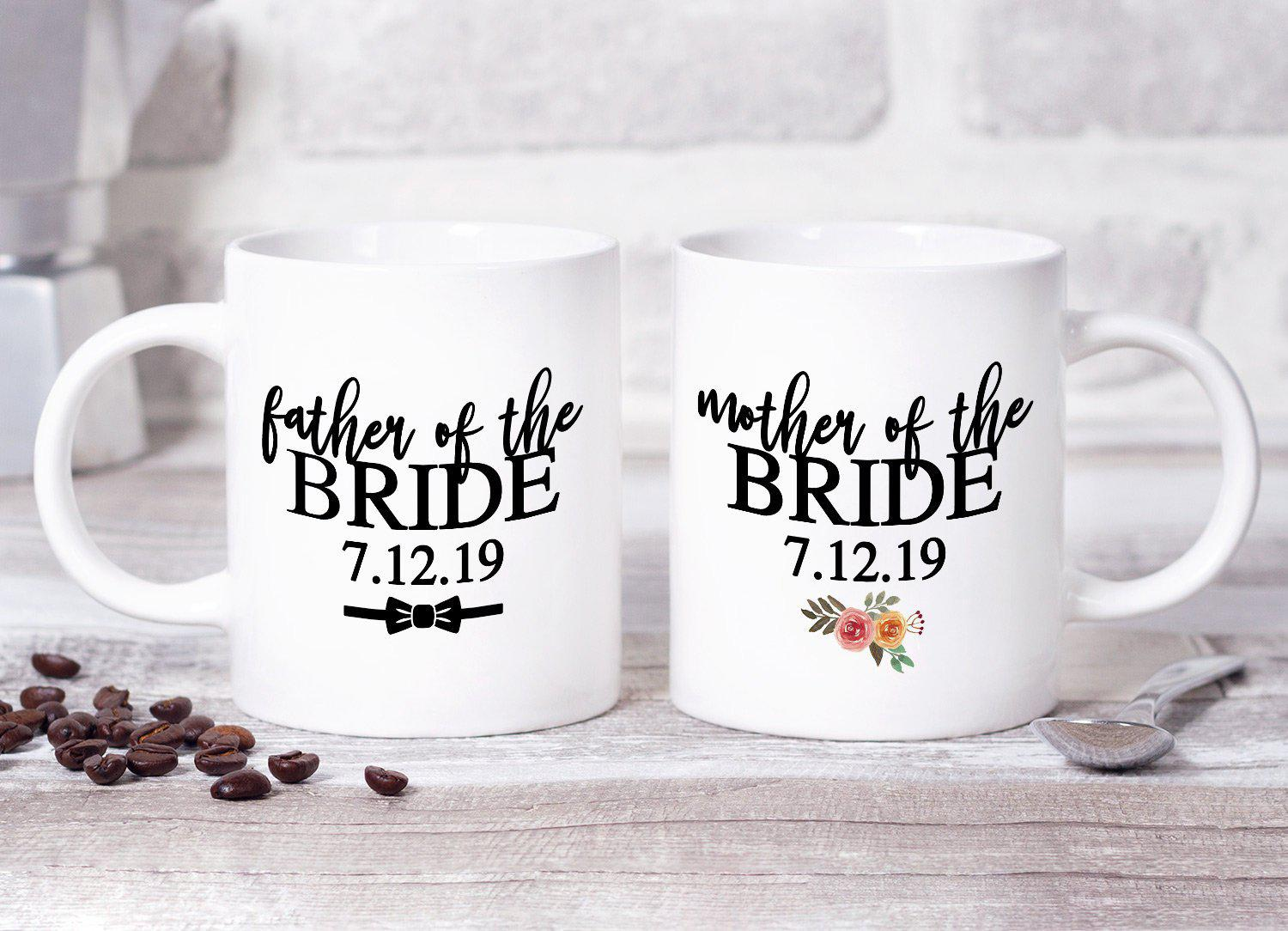 Mother and Father Wedding Mug Set | Great Gift for Mom and Dad Bride Groom | Present Favor for Parent 11 oz or 15 oz Ceramic Dishwasher Safe-Mugs-Maddie & Co.