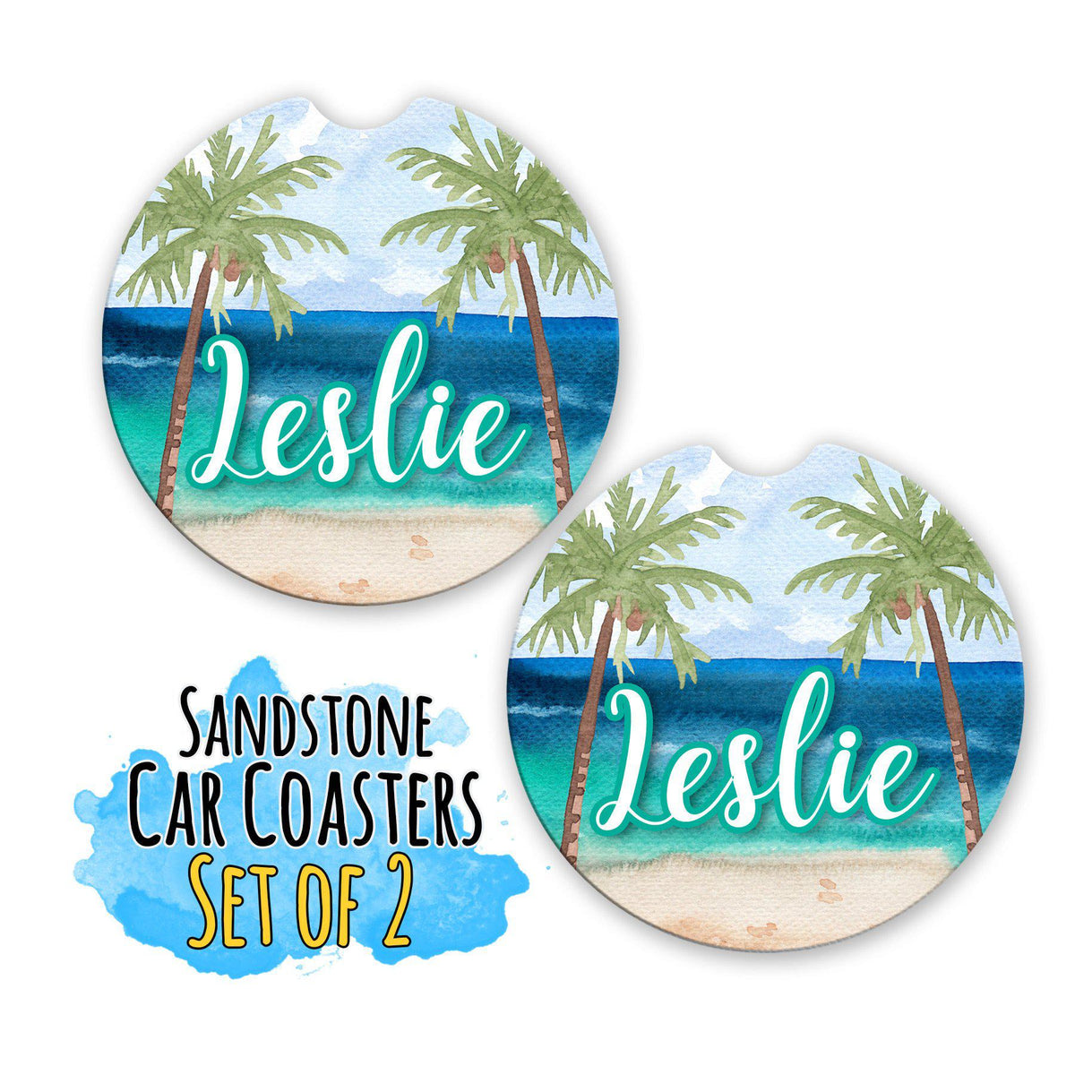 Beach Monogram Coasters For Cup Holder-Car Accessories-Maddie & Co.