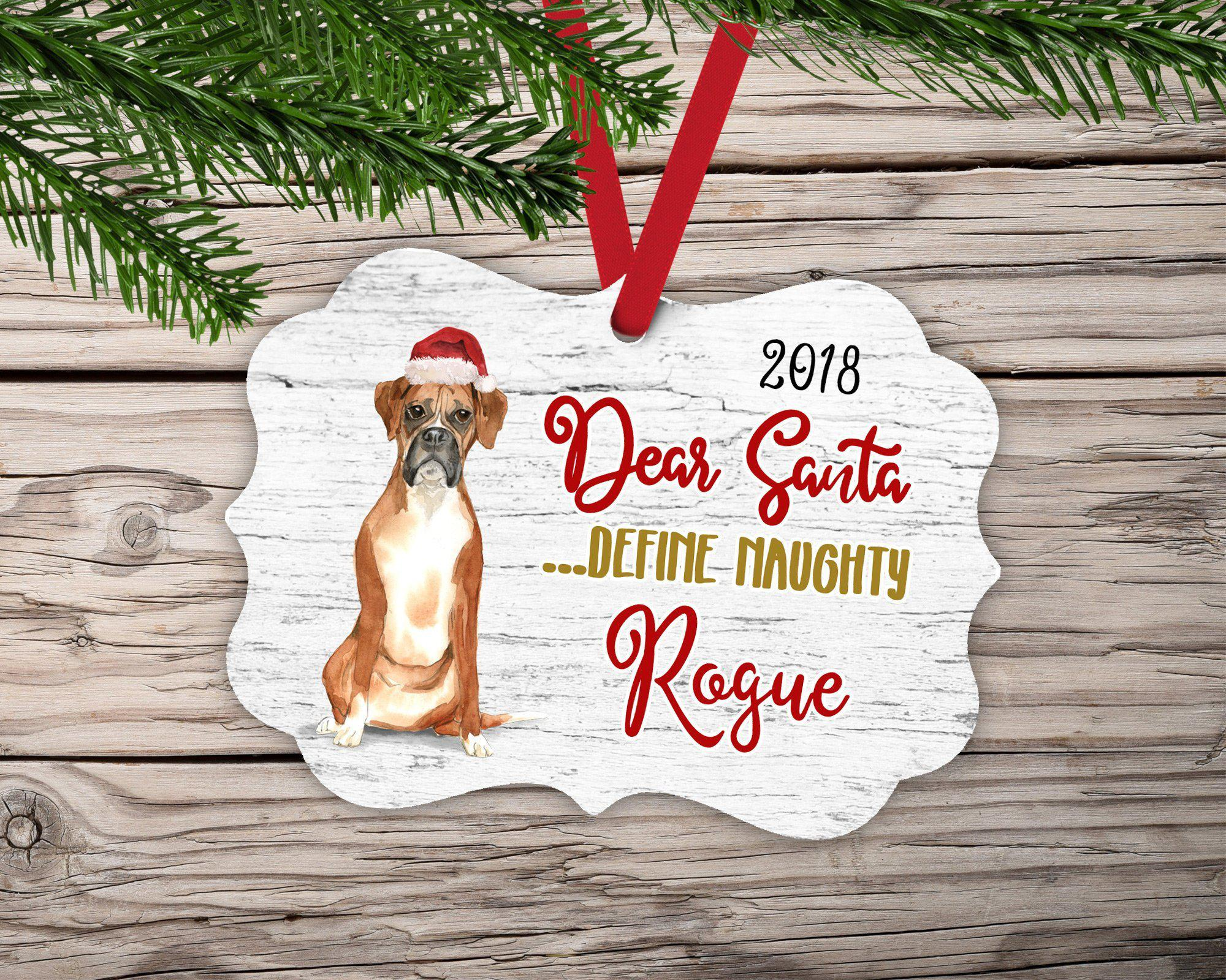Dear Santa Boxer Dog Ornament-Ornaments-Maddie & Co.
