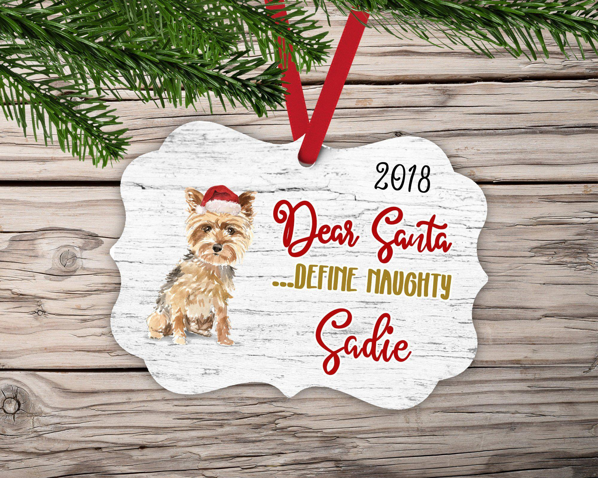 Dear Santa Yorkie Dog Ornament-Ornaments-Maddie & Co.