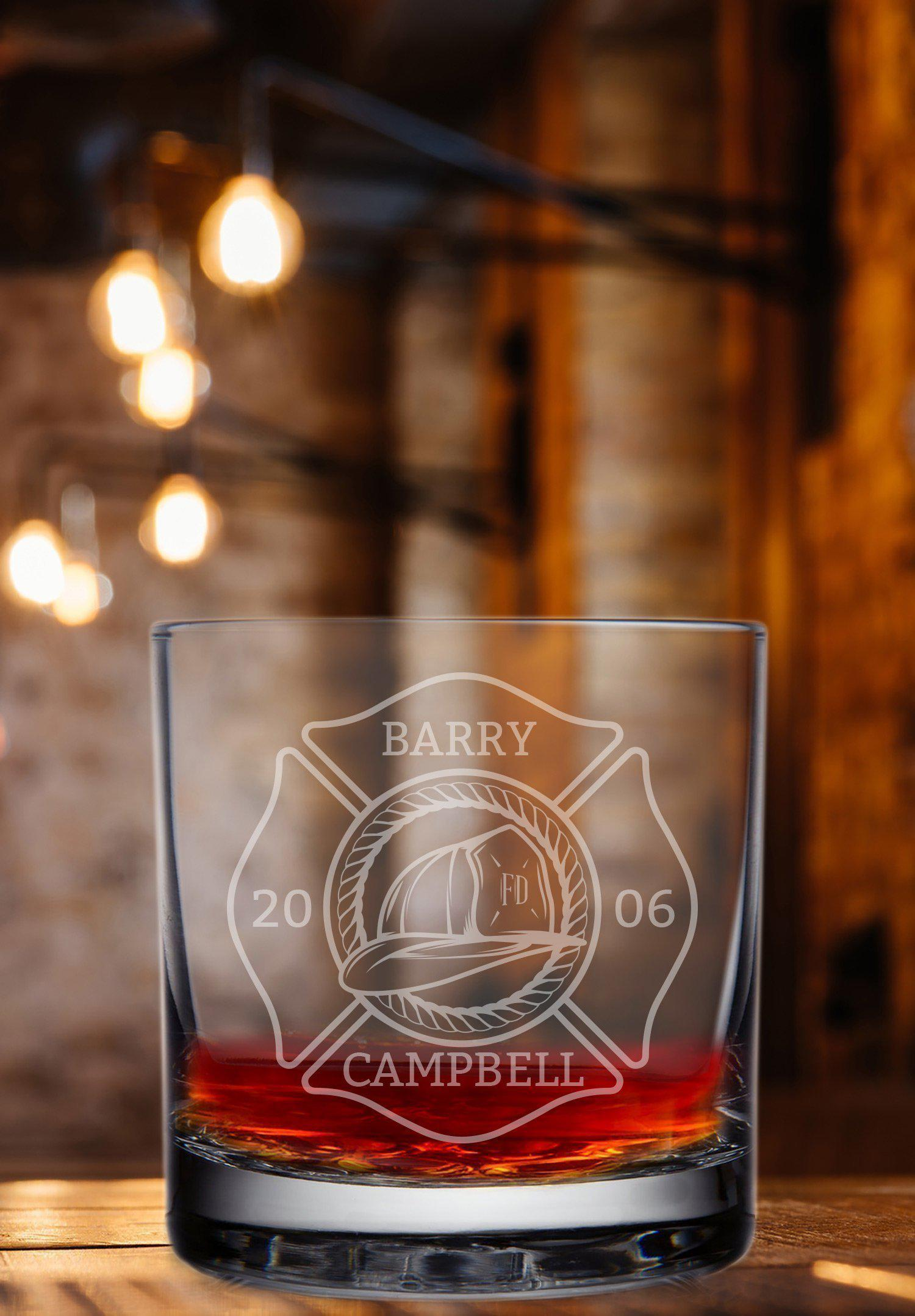 Firefighter Engraved Whisky Glass - Fireman Rocks Glass-Whiskey Glasses + Wine-Maddie & Co.