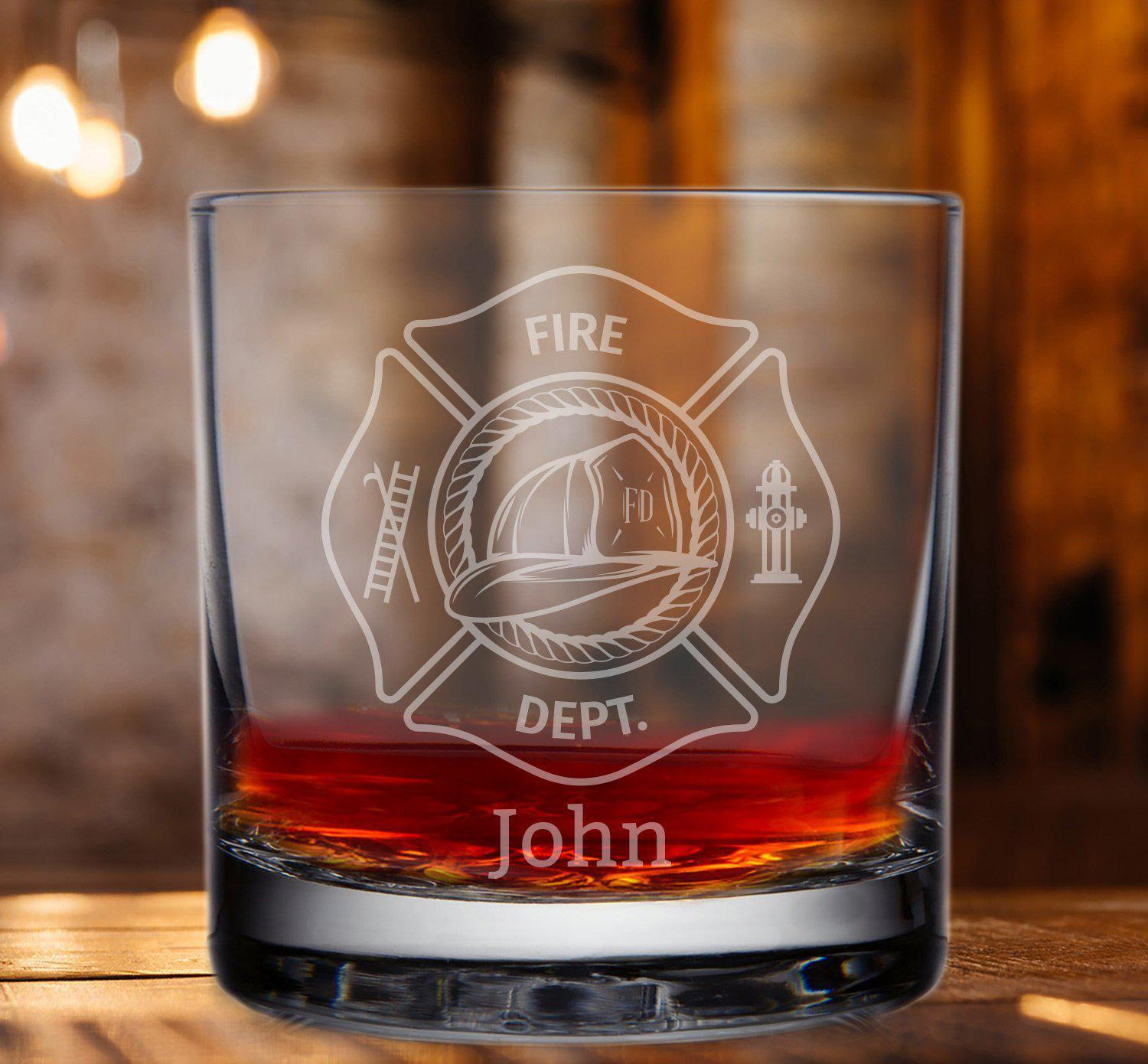 Firefighter Engraved Whisky Glass - Fireman Ladder Glass-Whiskey Glasses + Wine-Maddie & Co.