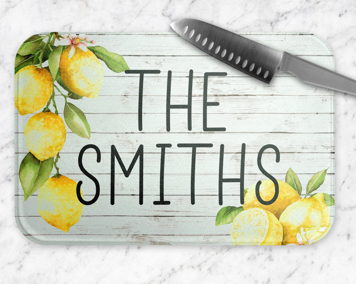 Lemon Rustic Personalized Glass Cutting Board-Kitchenware-Maddie & Co.