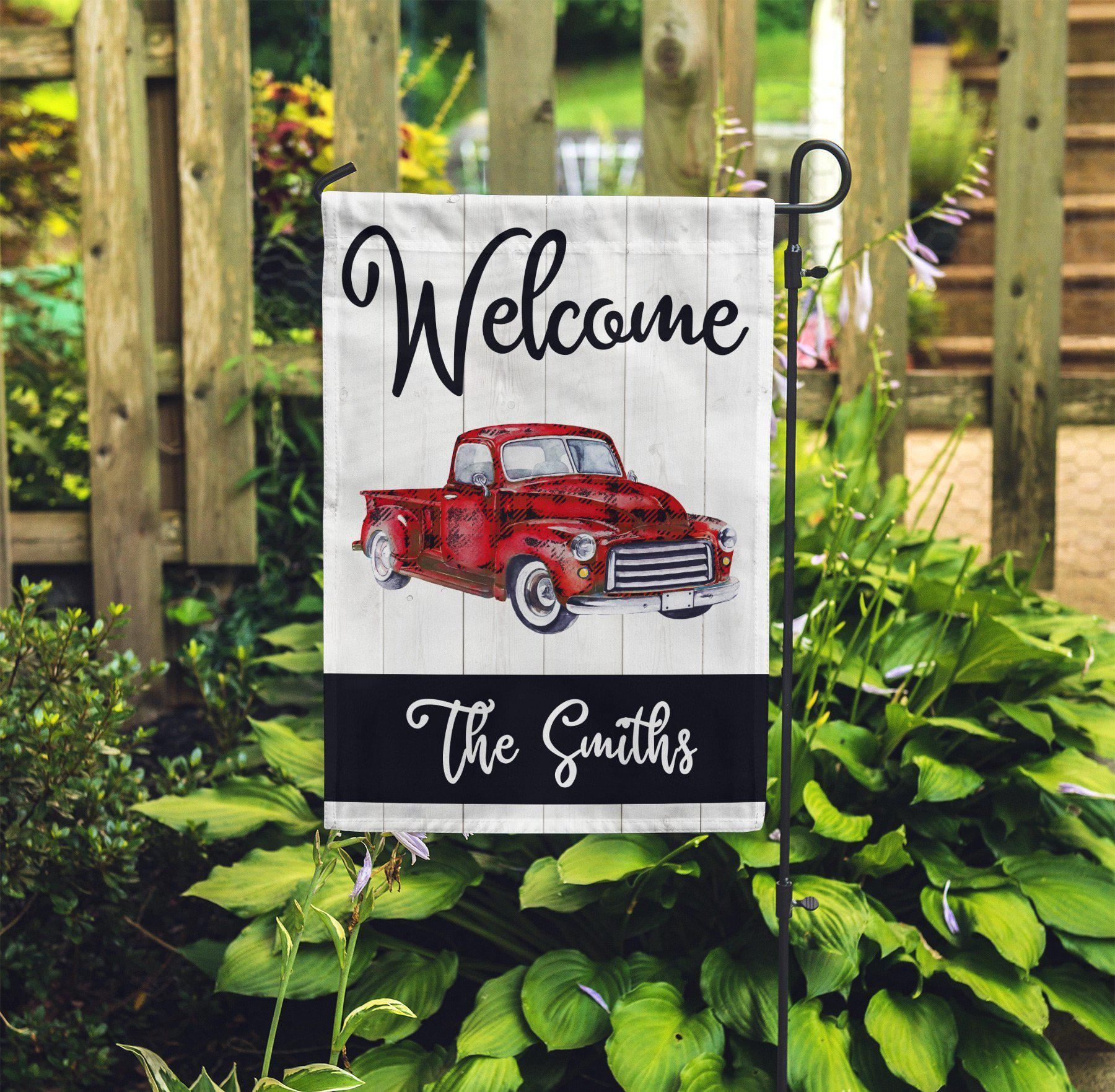 Buffalo Plaid Red Truck Garden Flag-Outdoor / Garden-Maddie & Co.