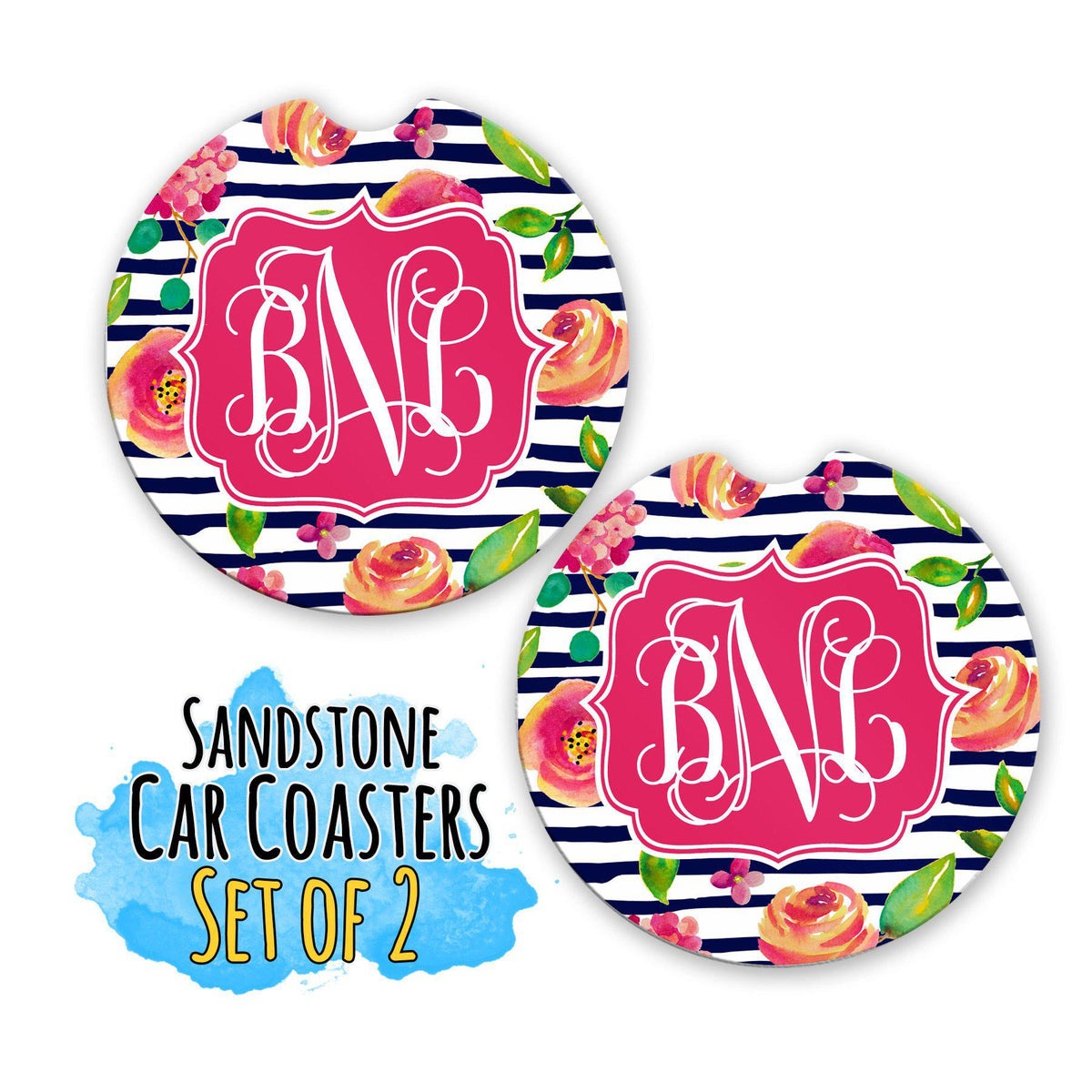 Monogram Coasters For Cup Holder-Car Accessories-Maddie & Co.