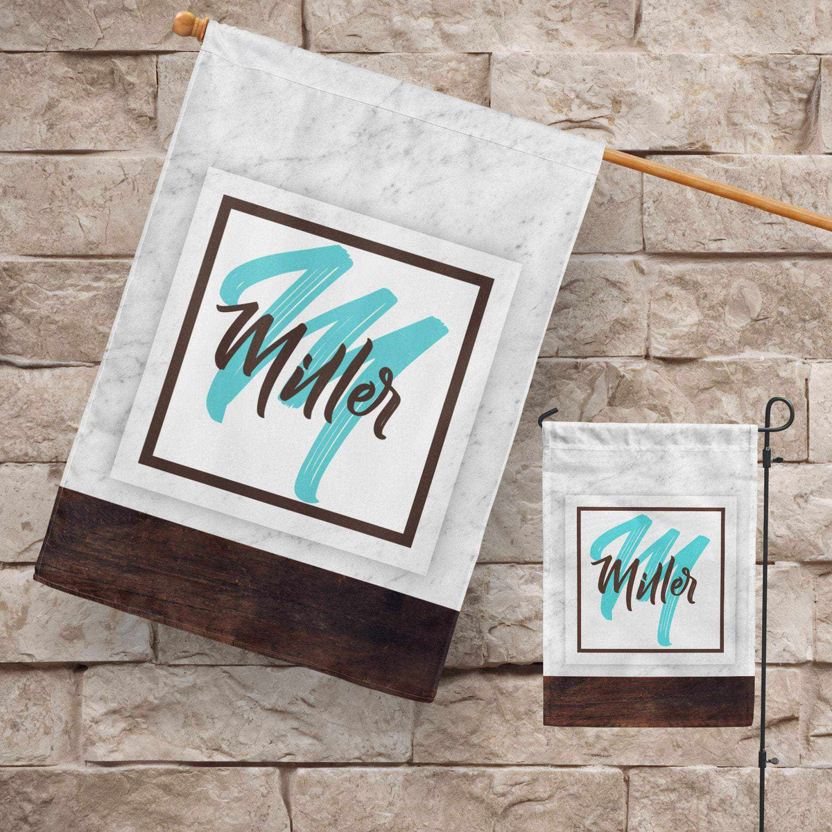 Marble and Wood Personalized Garden Flag-Outdoor / Garden-Maddie & Co.