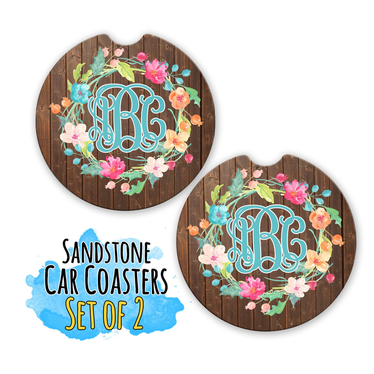 Monogram Car Coaster-Car Accessories-Maddie & Co.