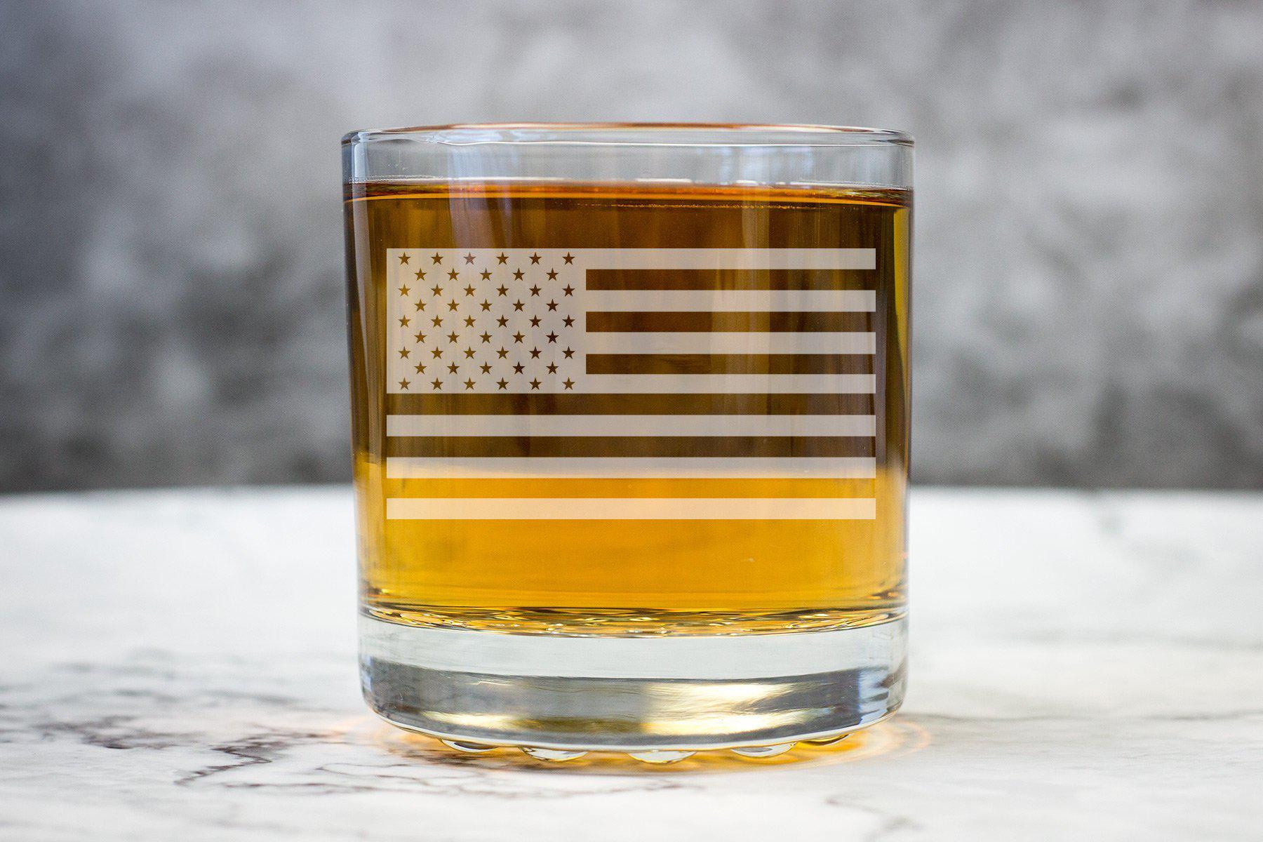 Patriotic American Flag Glass-Whiskey Glasses + Wine-Maddie & Co.