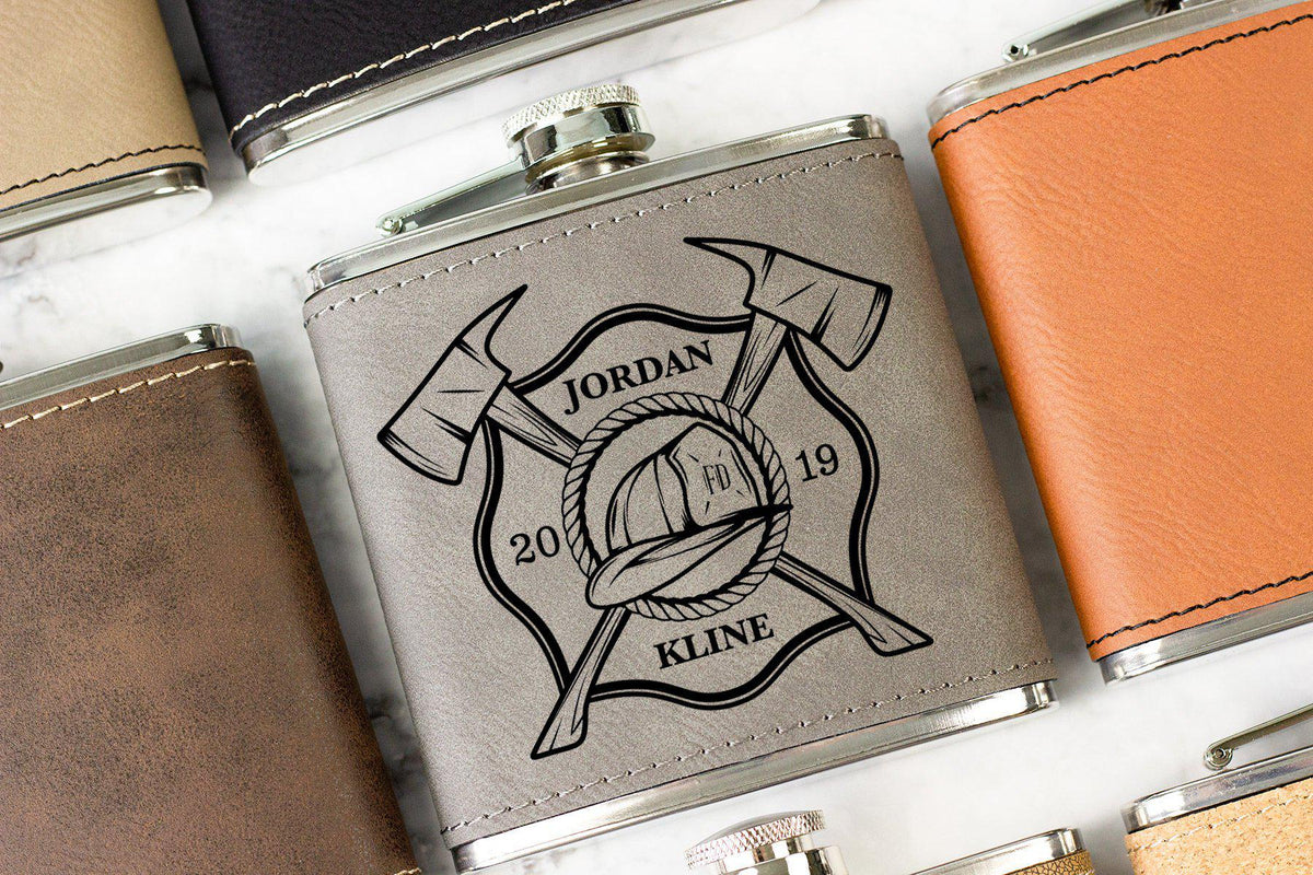 Firefighter Hip Flask-Whiskey Glasses + Wine-Maddie & Co.