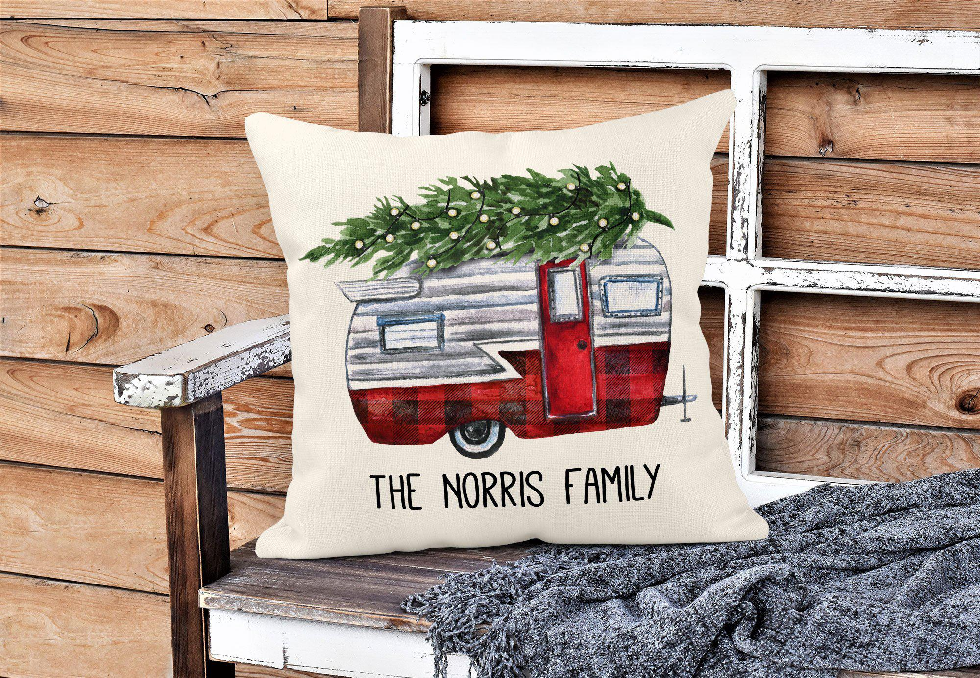 Camper Christmas Throw Pillow-Home Decor-Maddie & Co.