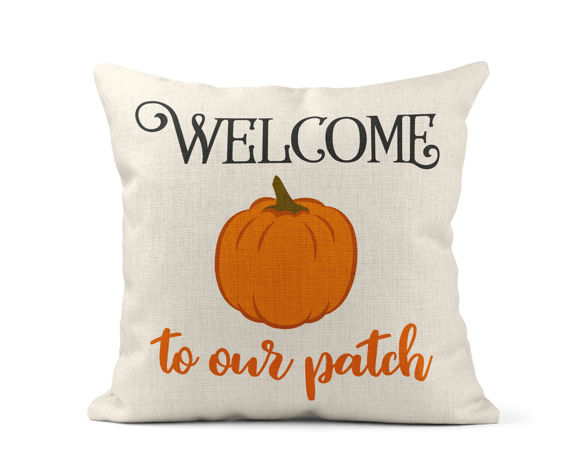 Welcome To Our Patch Throw Pillow-Home Decor-Maddie & Co.