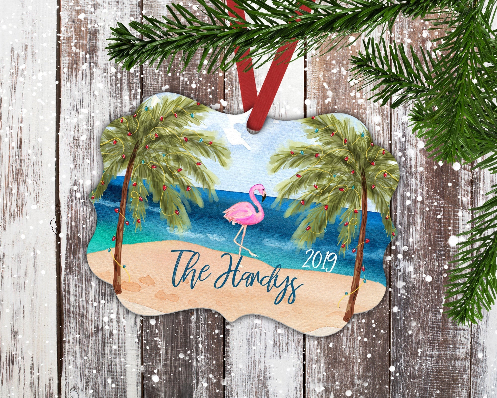 Flamingo Christmas Ornament-Ornaments-Maddie & Co.