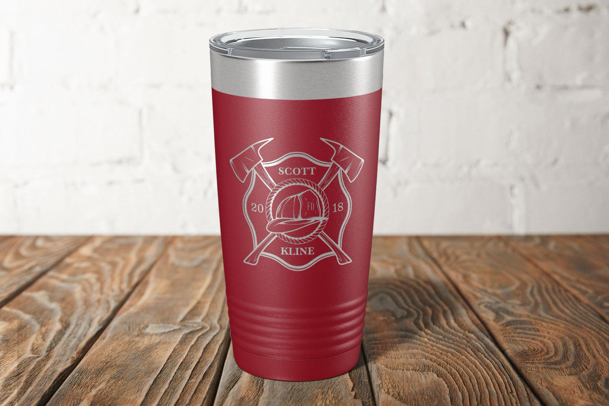 Firefighter Engraved Tumbler-Tumblers + Water Bottles-Maddie & Co.