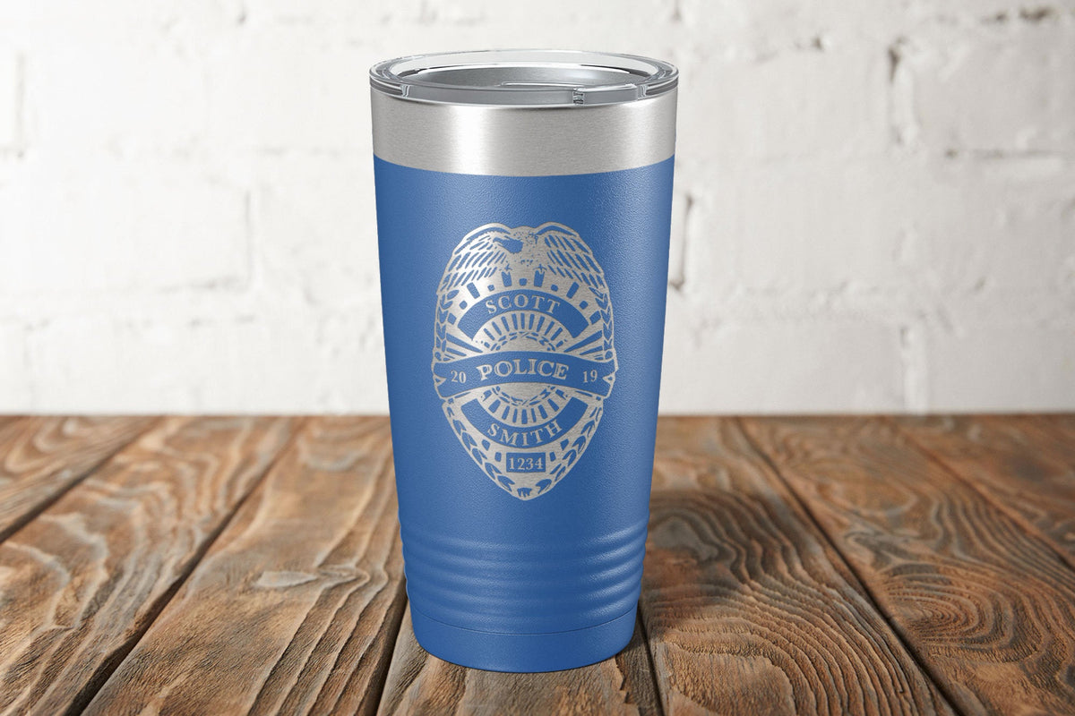 Police Badge Laser Etched Tumbler-Tumblers + Water Bottles-Maddie & Co.