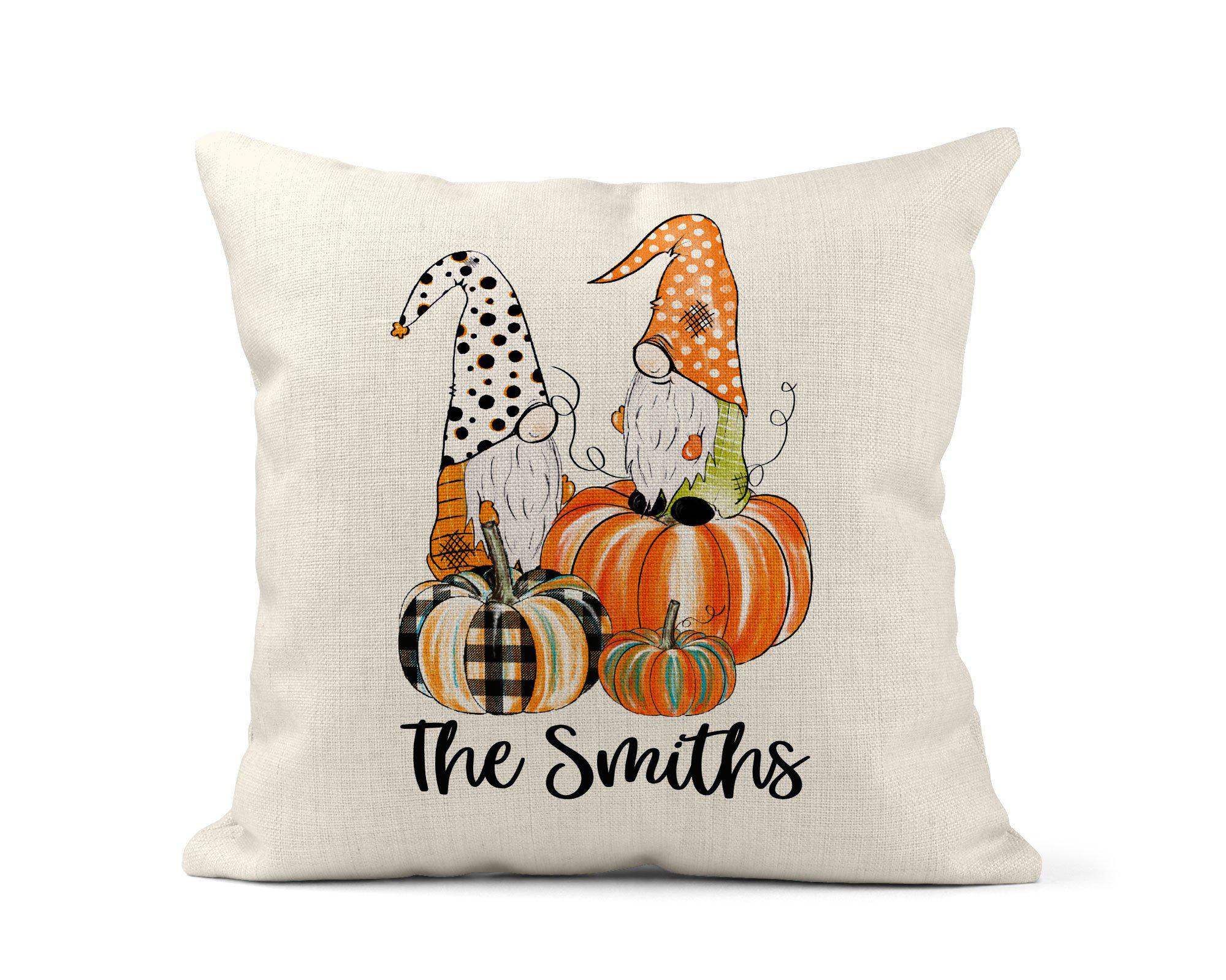 Gnome Pumpkin Throw Pillow-Home Decor-Maddie & Co.