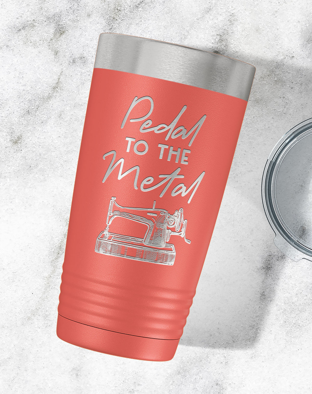 Pedal To The Metal Sewing Engraved Tumbler-Tumblers + Water Bottles-Maddie & Co.