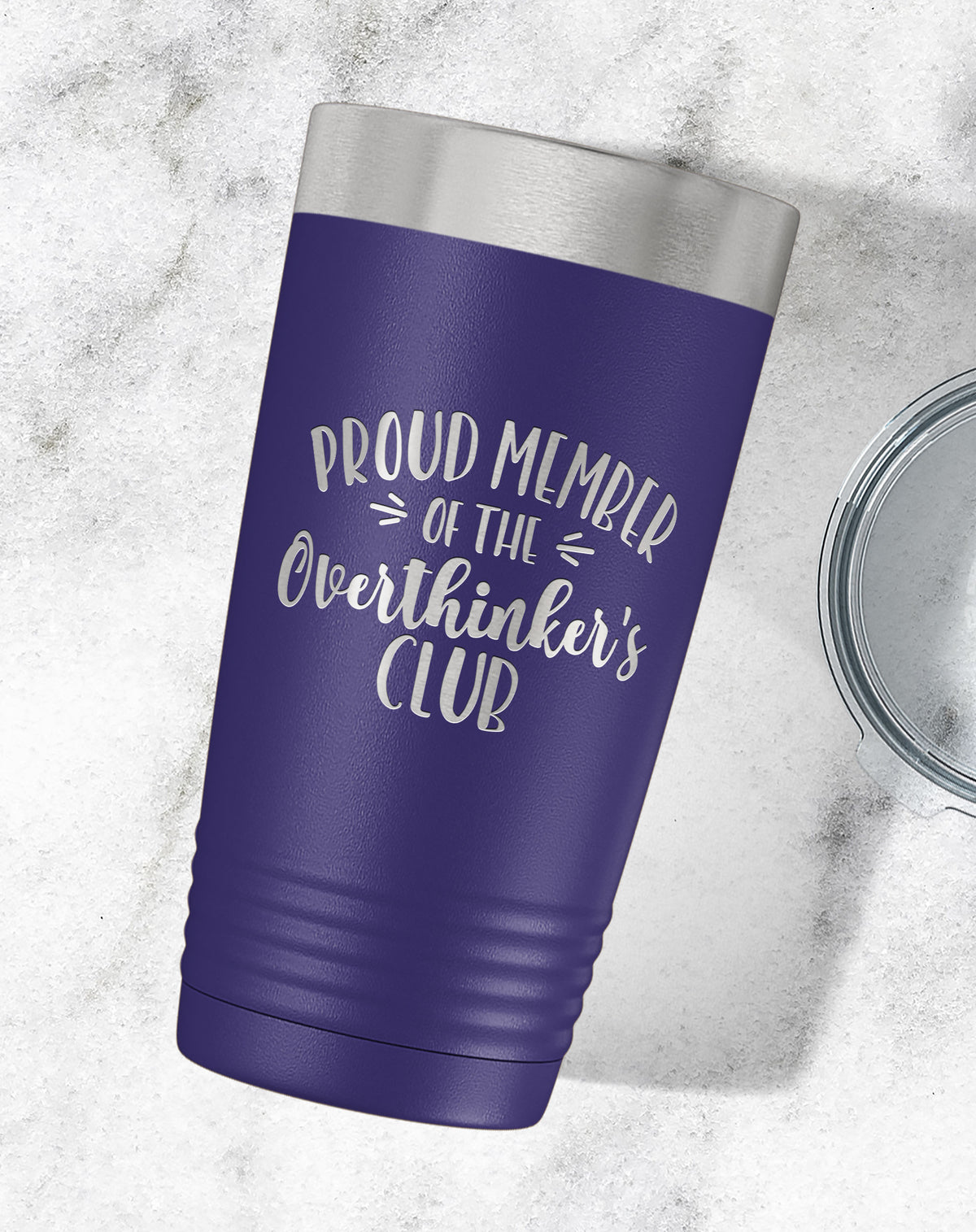 Proud Member Of The Overthinker's Club Engraved Tumbler-Tumblers + Water Bottles-Maddie & Co.