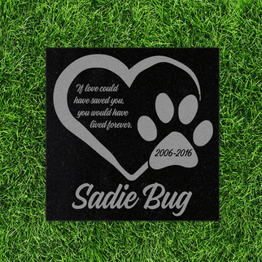 Personalized Granite Pet Memorial Stone- PM4-Pet Memorials-Maddie & Co.