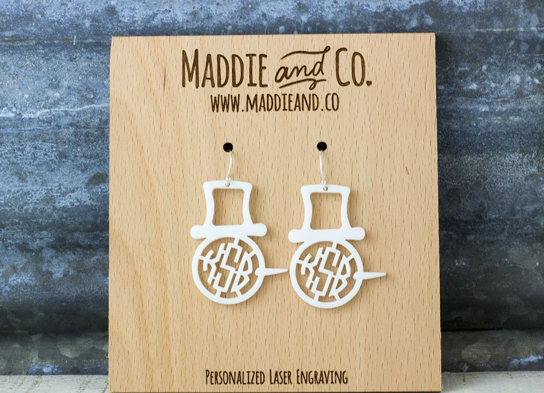 Snowman Monogram Earrings-Earrings-Maddie & Co.