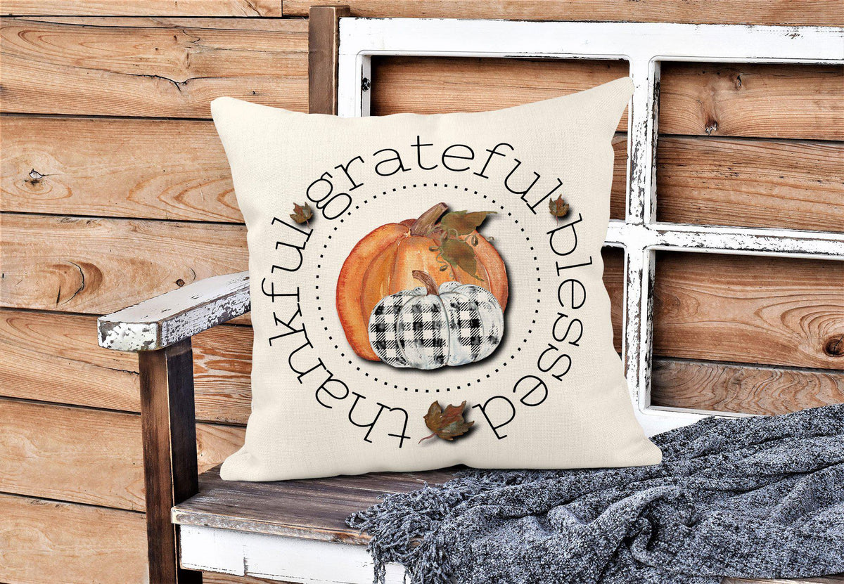 Thankful Grateful Blessed Throw Pillow-Home Decor-Maddie & Co.
