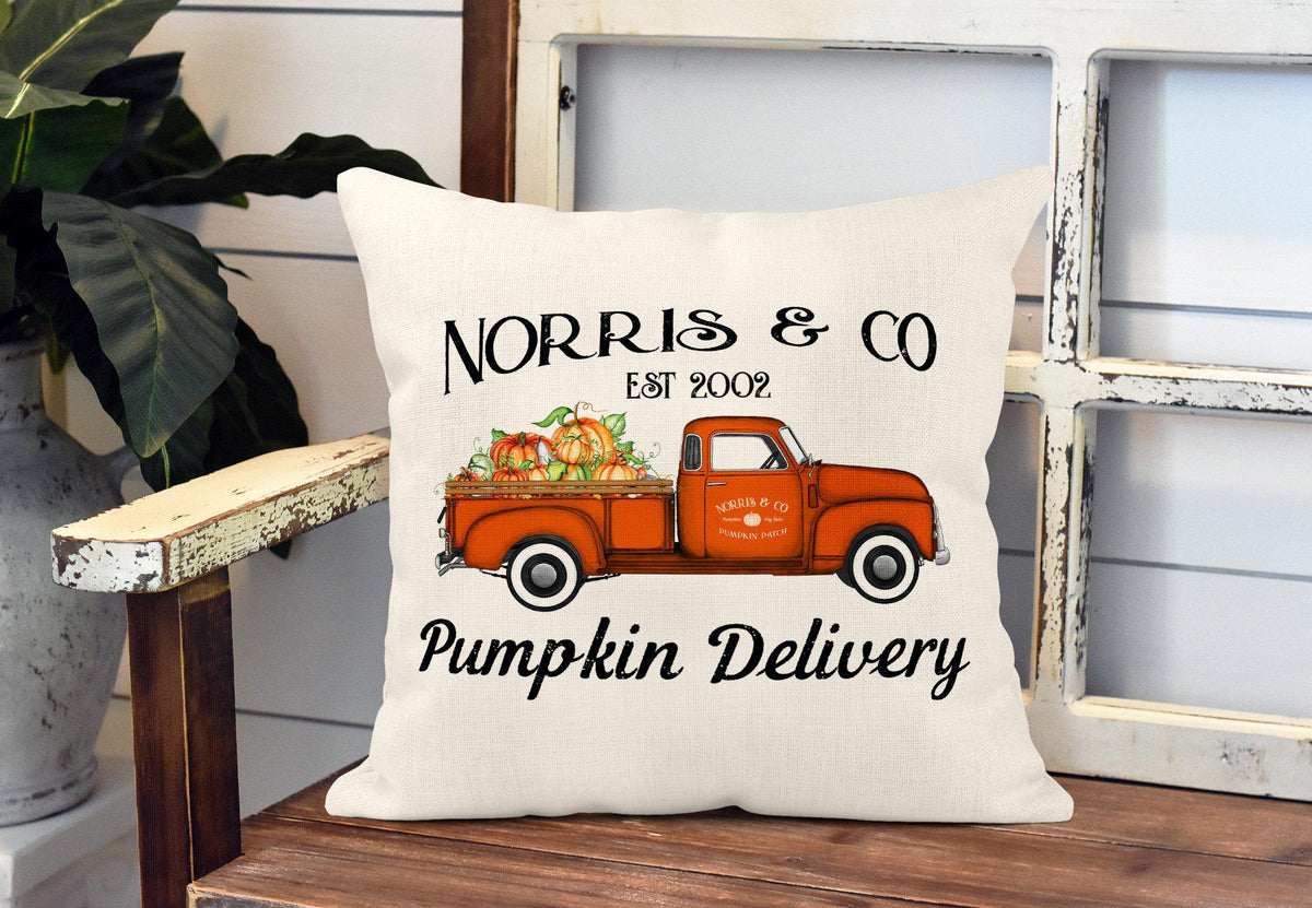 Personalized Fall Pumpkin Throw Pillow-Home Decor-Maddie & Co.