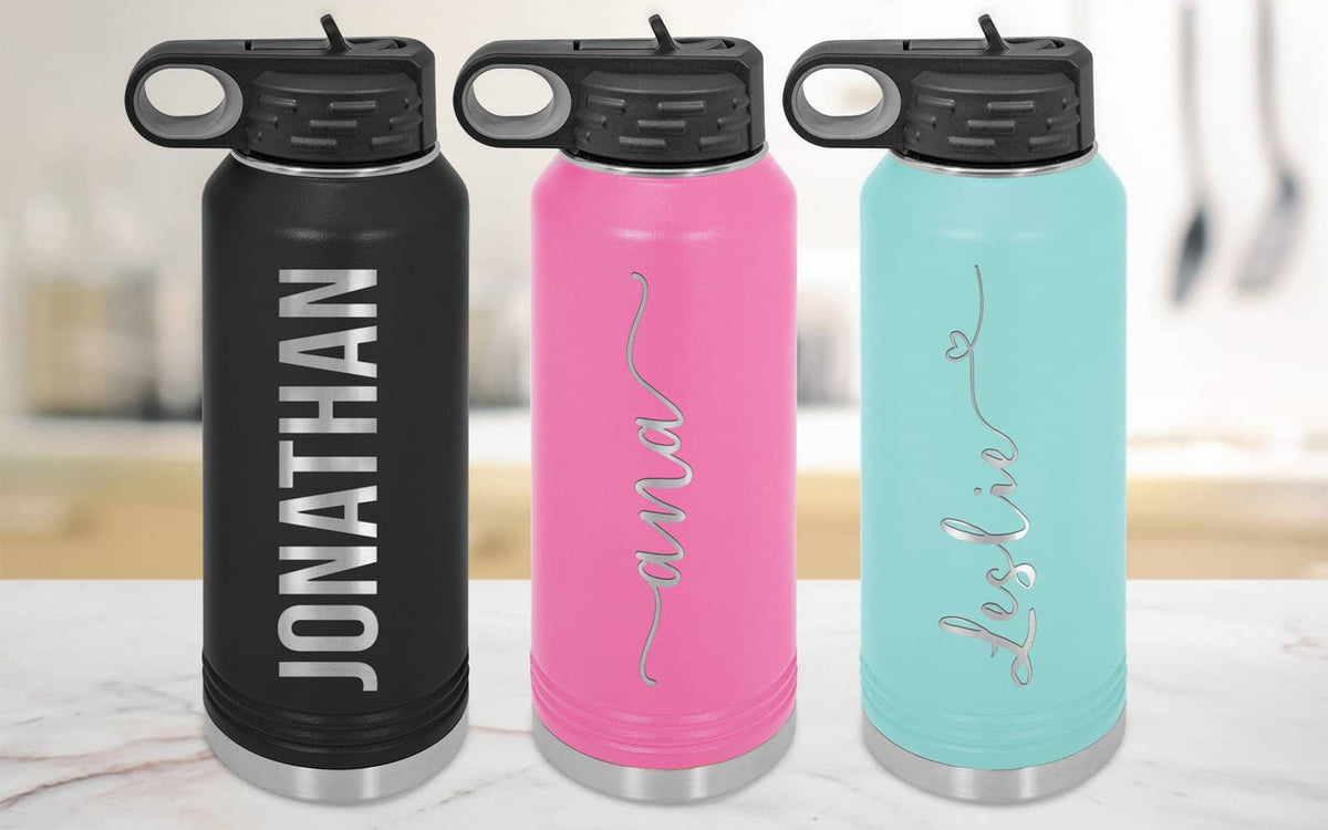 Personalized Water Bottle w Straw Lid-Tumblers + Water Bottles-Maddie & Co.
