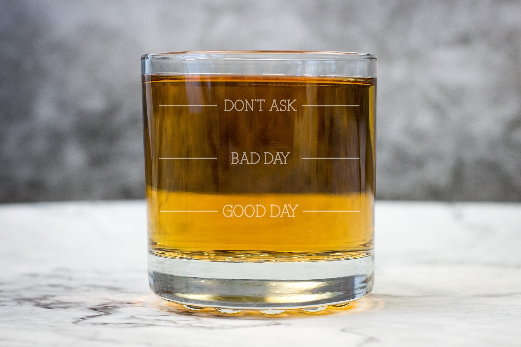 Good Day, Bad Day, Don't Ask Whiskey Glass-Maddie & Co.