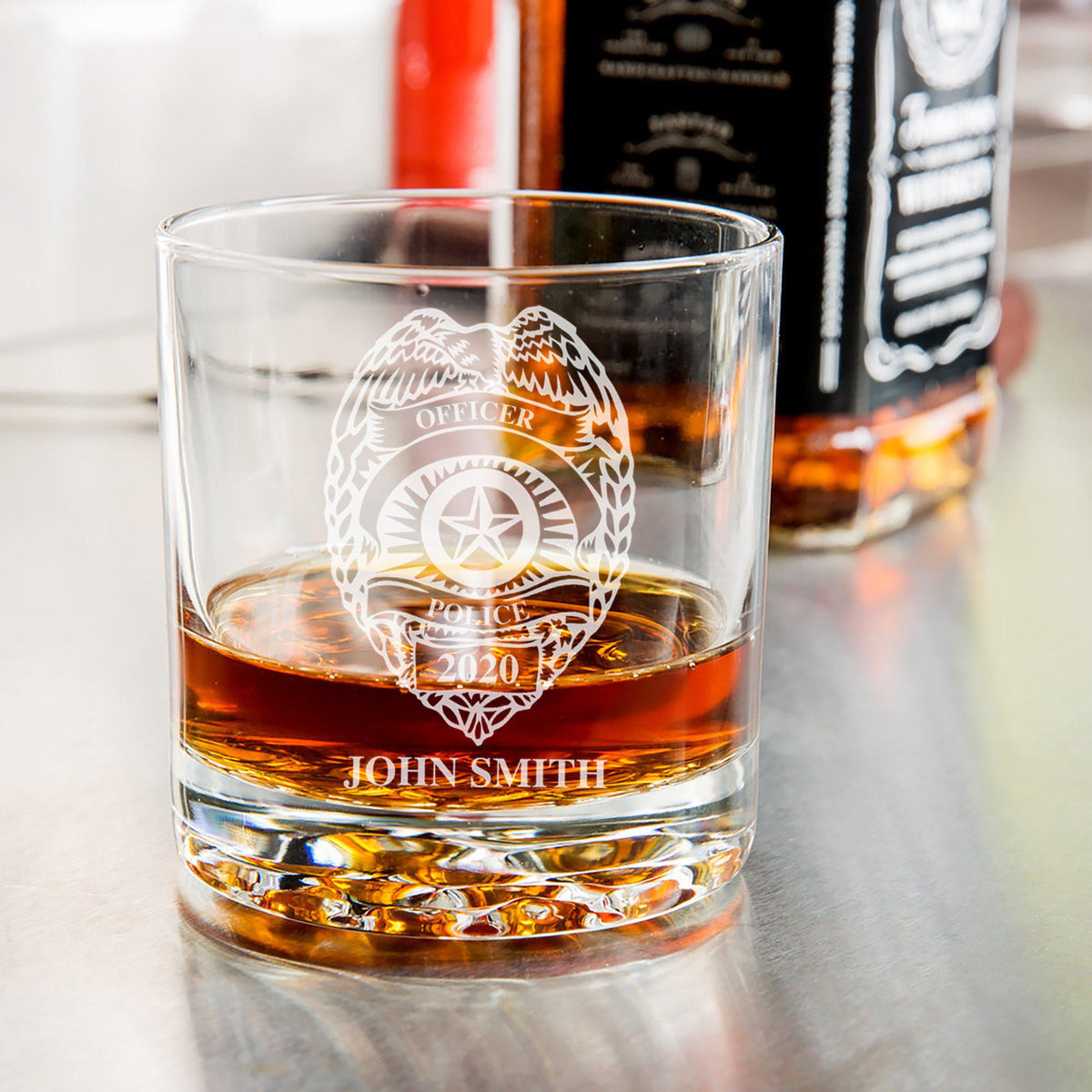 Police Badge Personalized Whiskey Glass-Maddie & Co.