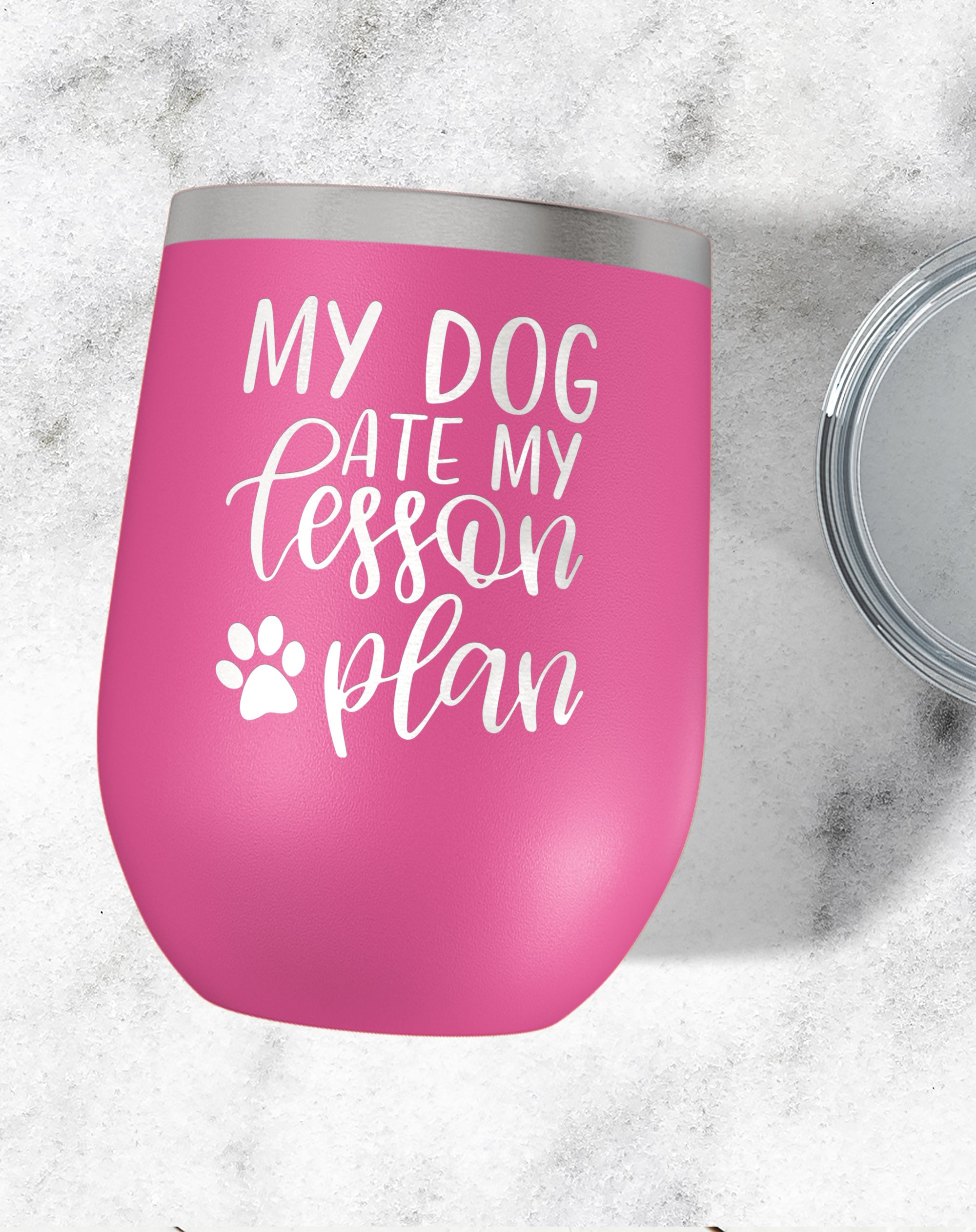 My Dog Ate My Lesson Plan Wine Tumbler-Wine Tumblers-Maddie & Co.