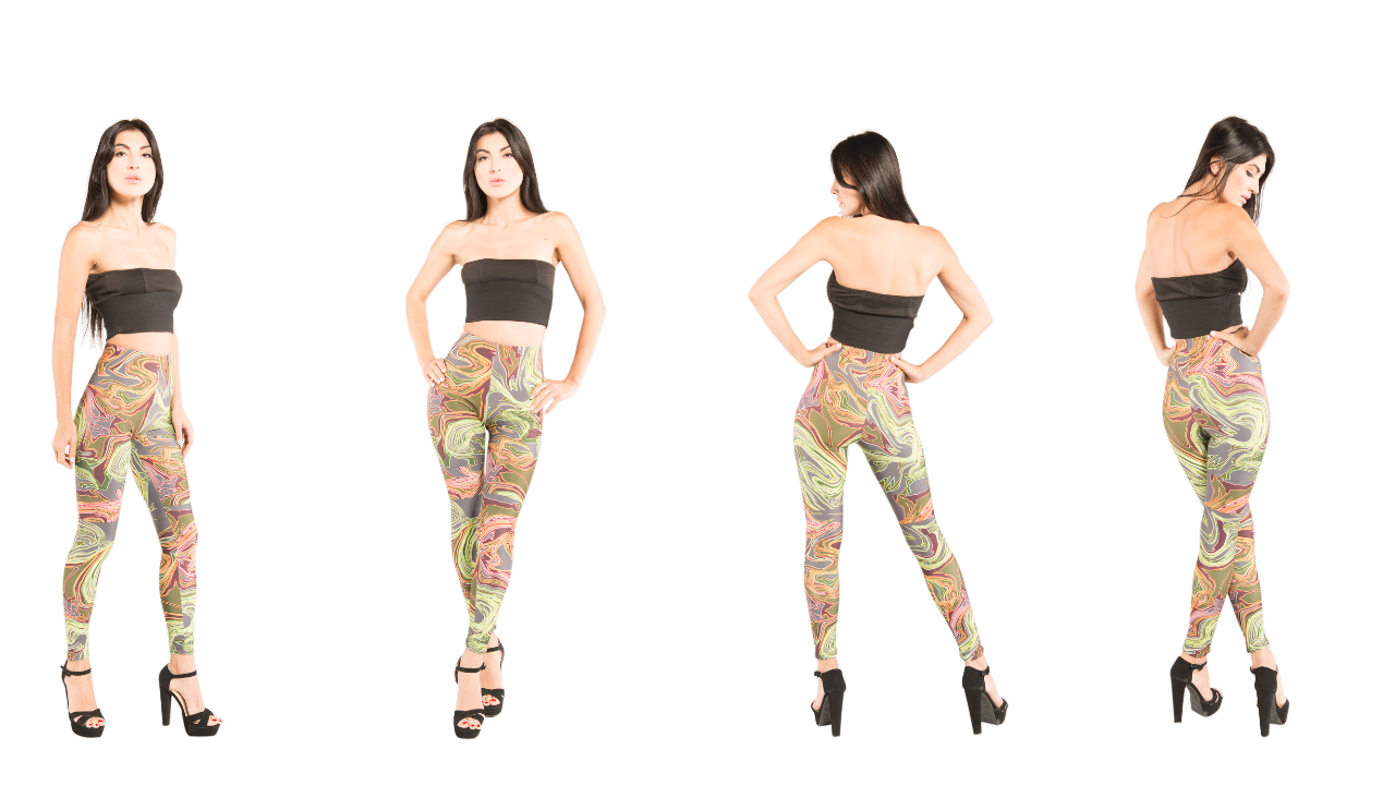 Green designer leggings that can be worn with many other J'aime products.