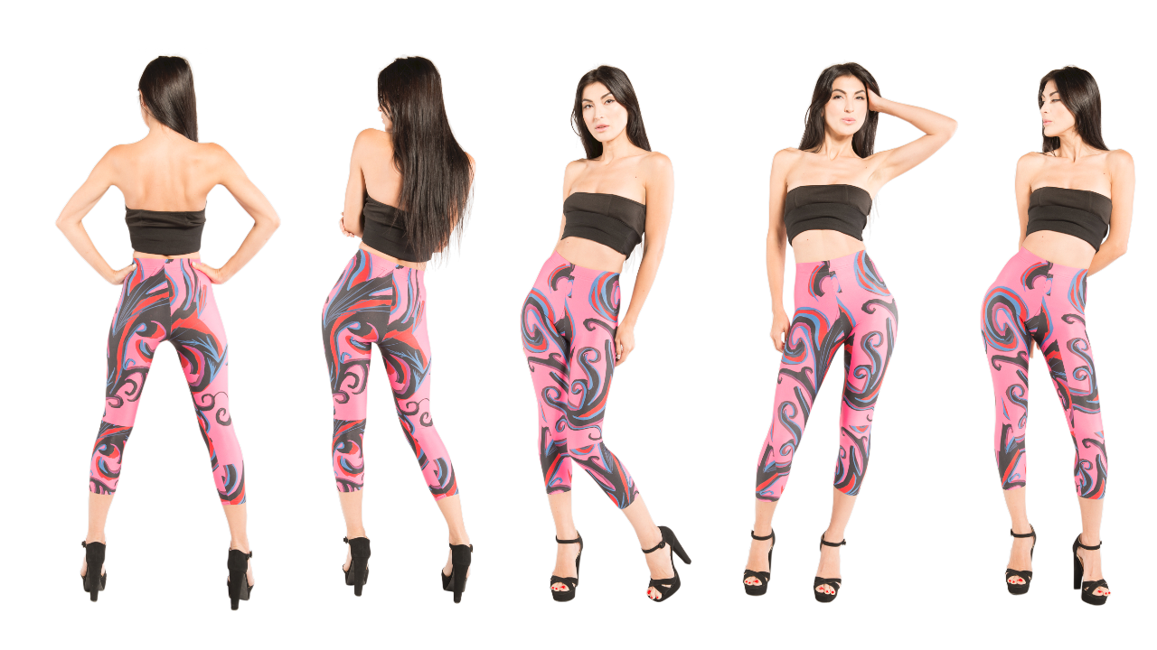 Girl wearing vibrant pink capri by J'aime a company that supports many charitable foundations.