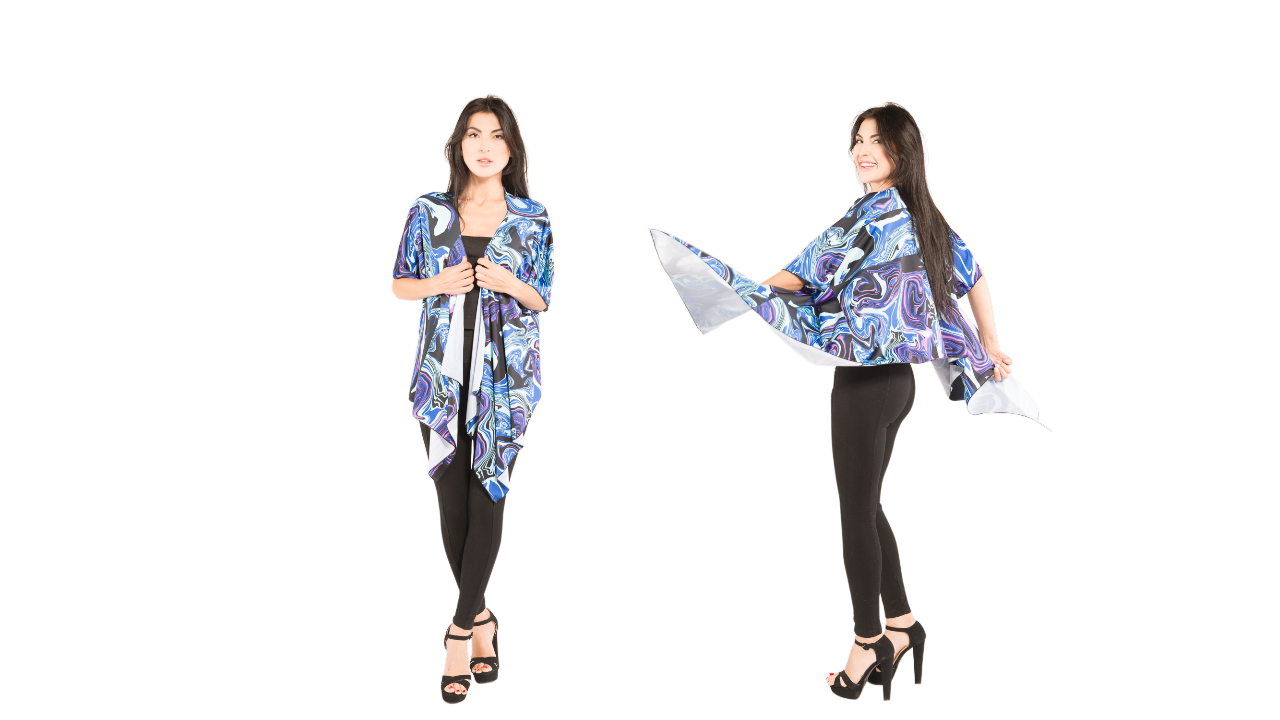 vibrant blue designer draped kimono that you can wear to your next concert or music festival.