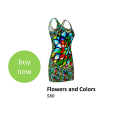 Colorful floral inspired bodycon dress