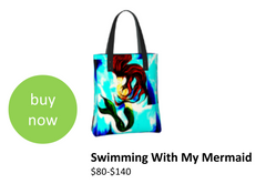 Mermaid designer tote-bag that can be worn with matching products such as dresses and much more.