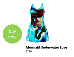 Mermaid designer dress that can be worn with matching tote-bag and other J'aime products.