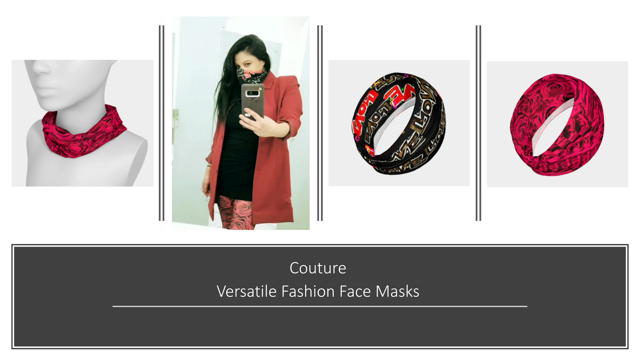 J'aime has created custom couture versatile fashion face masks that you can wear as a layer of protection during the coronavirus.