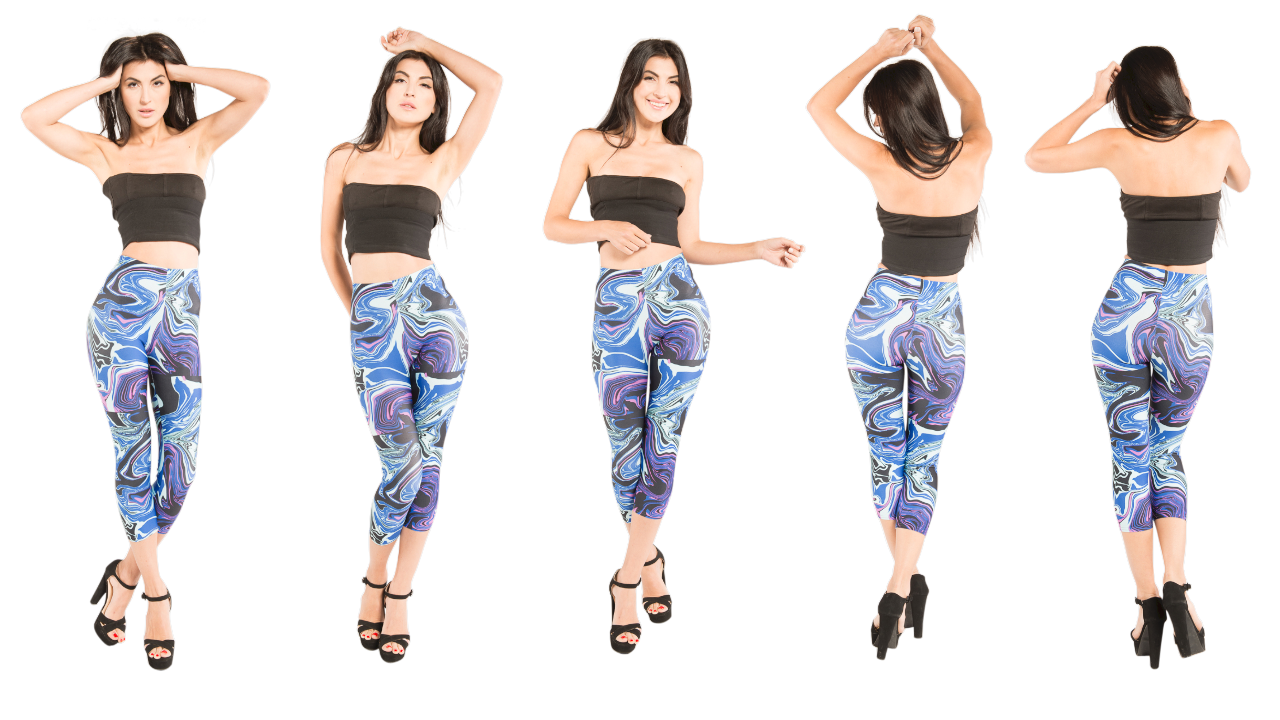 Vibrant blue capri by J'aime.  This girl is feeling confident wearing the latest fashion.