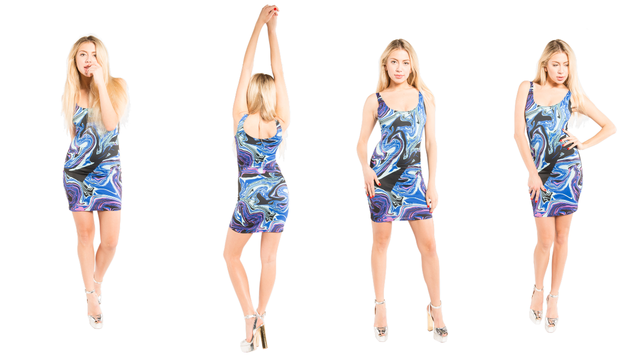 vibrant blue designer bodycon dress that you can wear to your next concert or music festival.