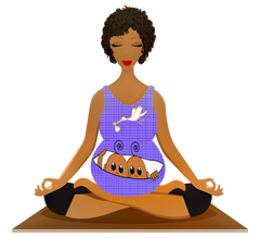 Pregnant woman wearing leggings is doing yoga while her fashionable baby is playing Peek A Boo. The baby is a designer baby.