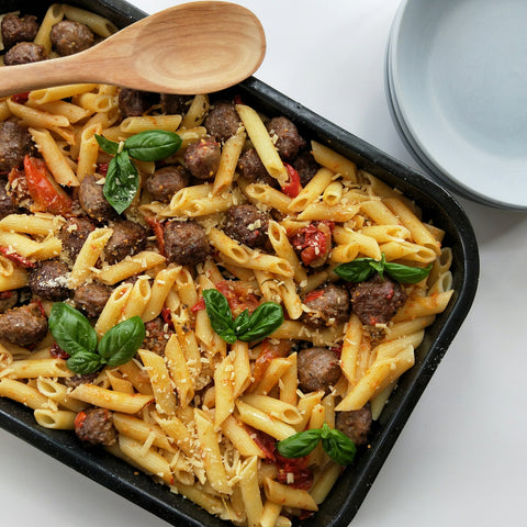 Pasta and meatballs in a tray
