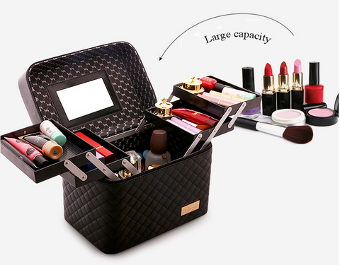 Multi-Layer Storage Travel Case - Cosmetic Makeup Organizer Bag - Goldycart.com