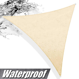 ColourTree 24' x 24' x 24' Beige Sun Shade Sail Triangle Canopy, UV Resistant Heavy Duty Commercial Grade, We Make Custom Size - Colourtree inc