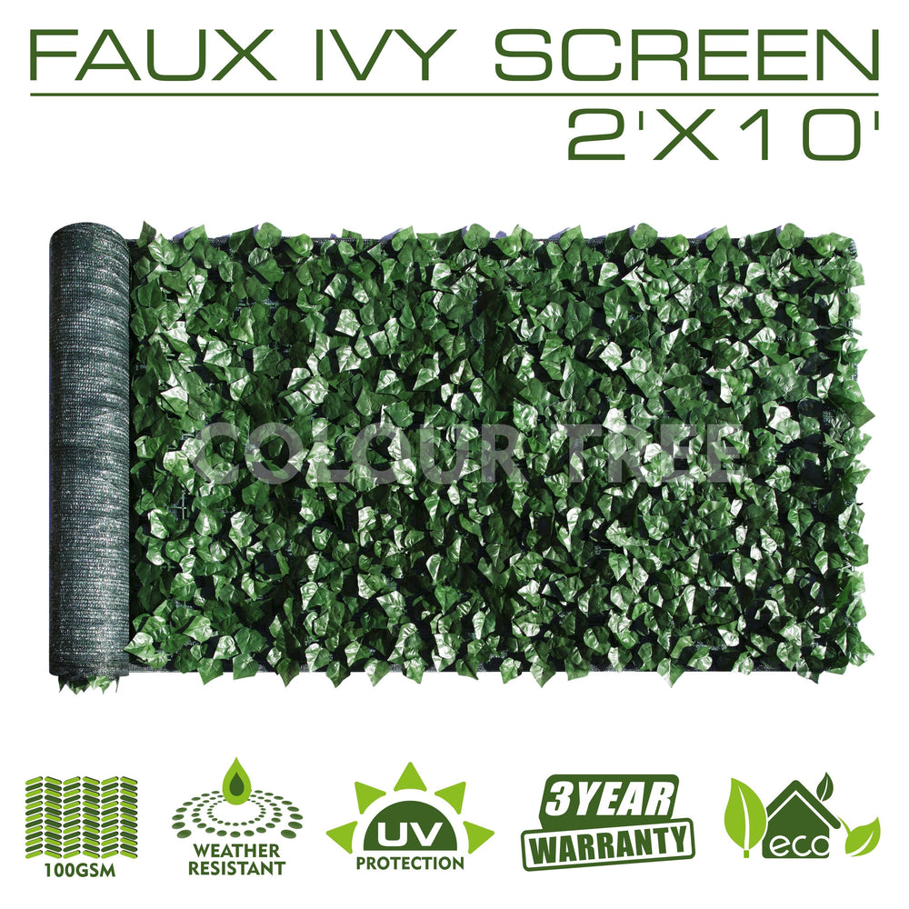 Artificial Hedges Faux Ivy Leaves Fence Privacy Screen Panels  Decorative Trellis - 2' x 10' - ColourTree