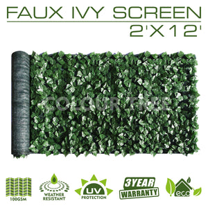 Artificial Hedges Faux Ivy Leaves Fence Privacy Screen Panels  Decorative Trellis - 2' x 12'
