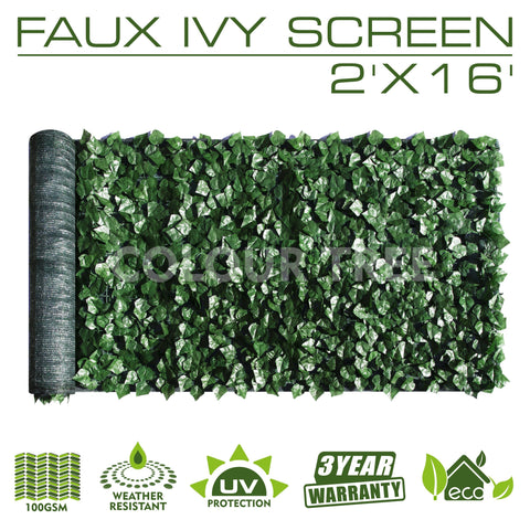 Artificial Hedges Faux Ivy Leaves Fence Privacy Screen Panels  Decorative Trellis - 2' x 16' - ColourTree